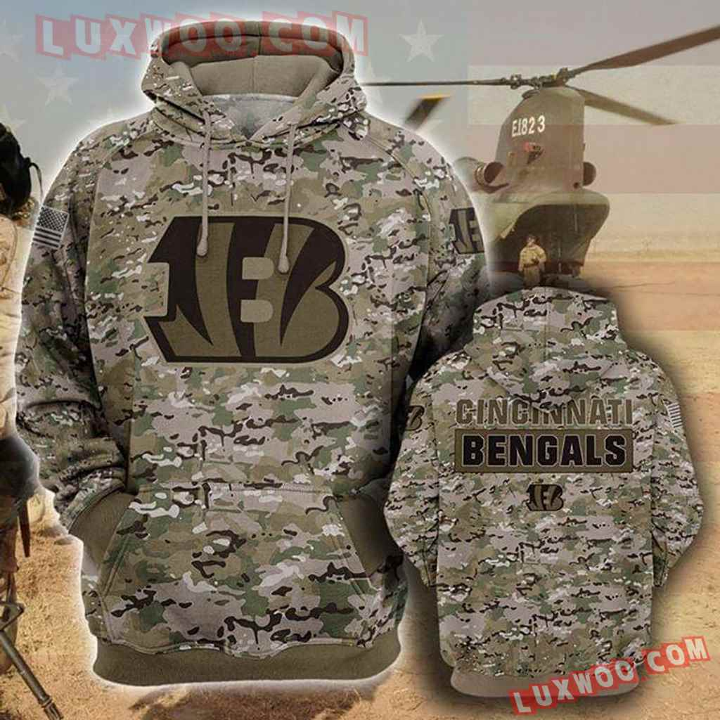 Nfl Cincinnati Bengals Camo Pullover And Zippered Hoodies Custom 3d Gr
