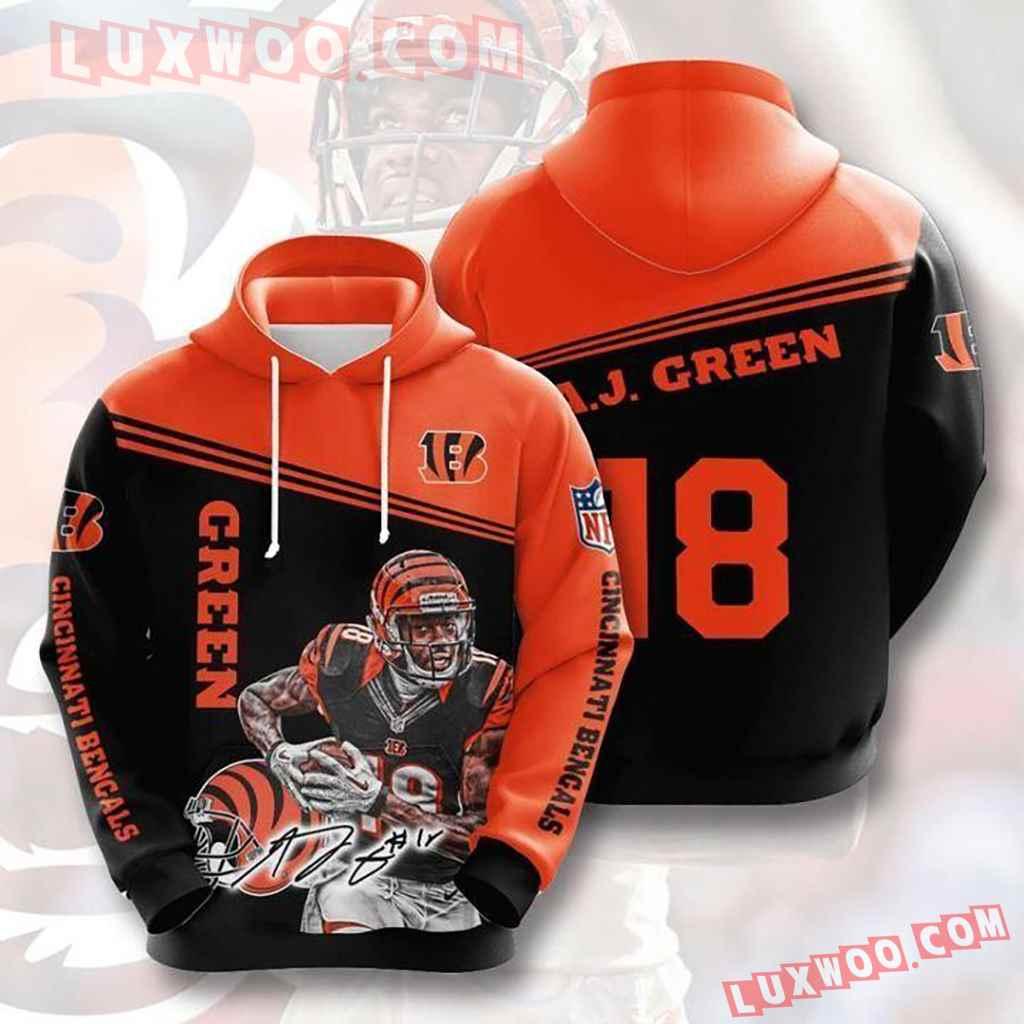 Nfl Cincinnati Bengals Green 18 Pullover And Zippered Hoodies Custom 3