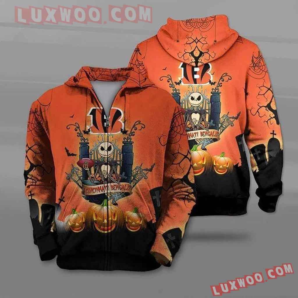 Nfl Cincinnati Bengals Jack Skellington Halloween Pullover And Zippere
