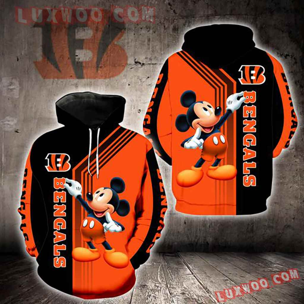 Nfl Cincinnati Bengals Mickey Mouse 3d Hoodie New Full All Over Print