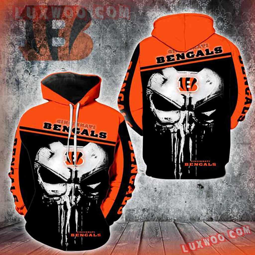 Nfl Cincinnati Bengals Punisher New Skull 3d Hoodie Full All Over Prin