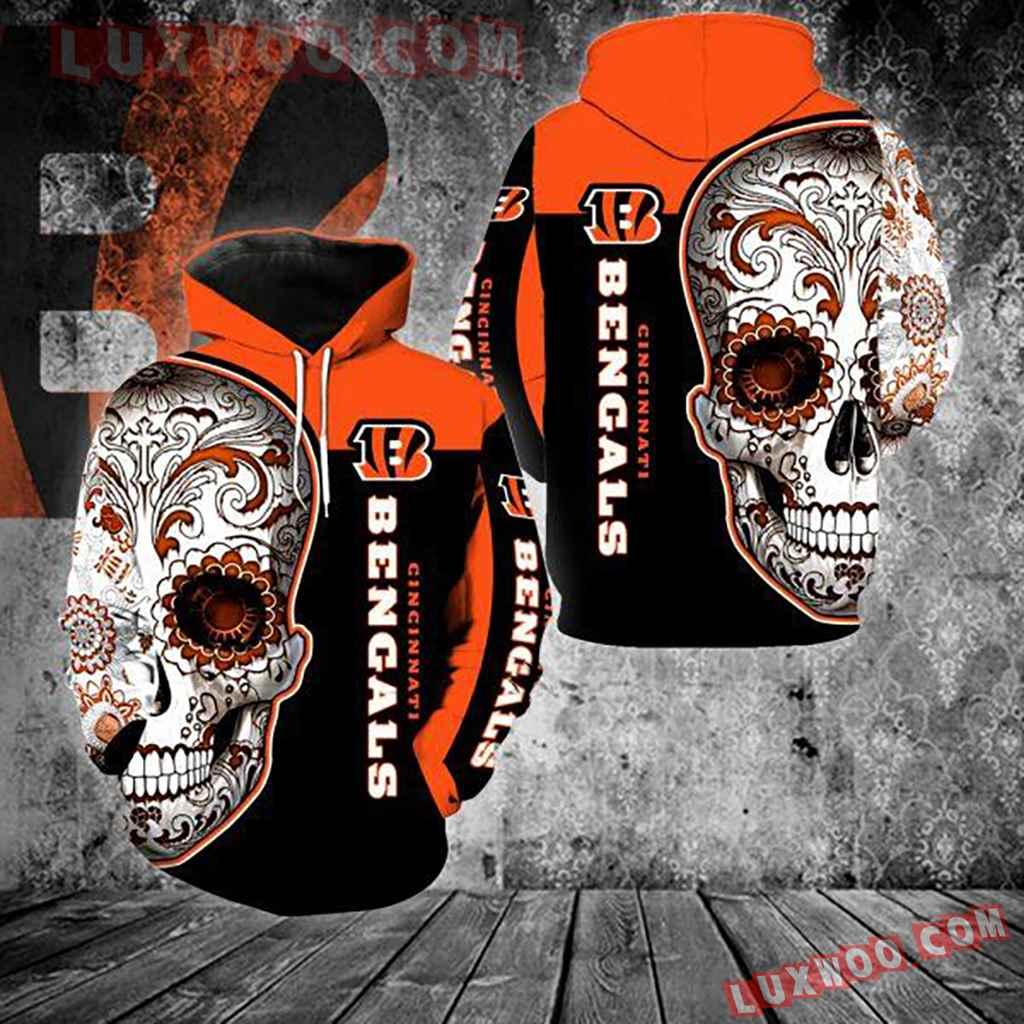 Nfl Cincinnati Bengals Skull 3d Hoodie New Full Over Print V1326