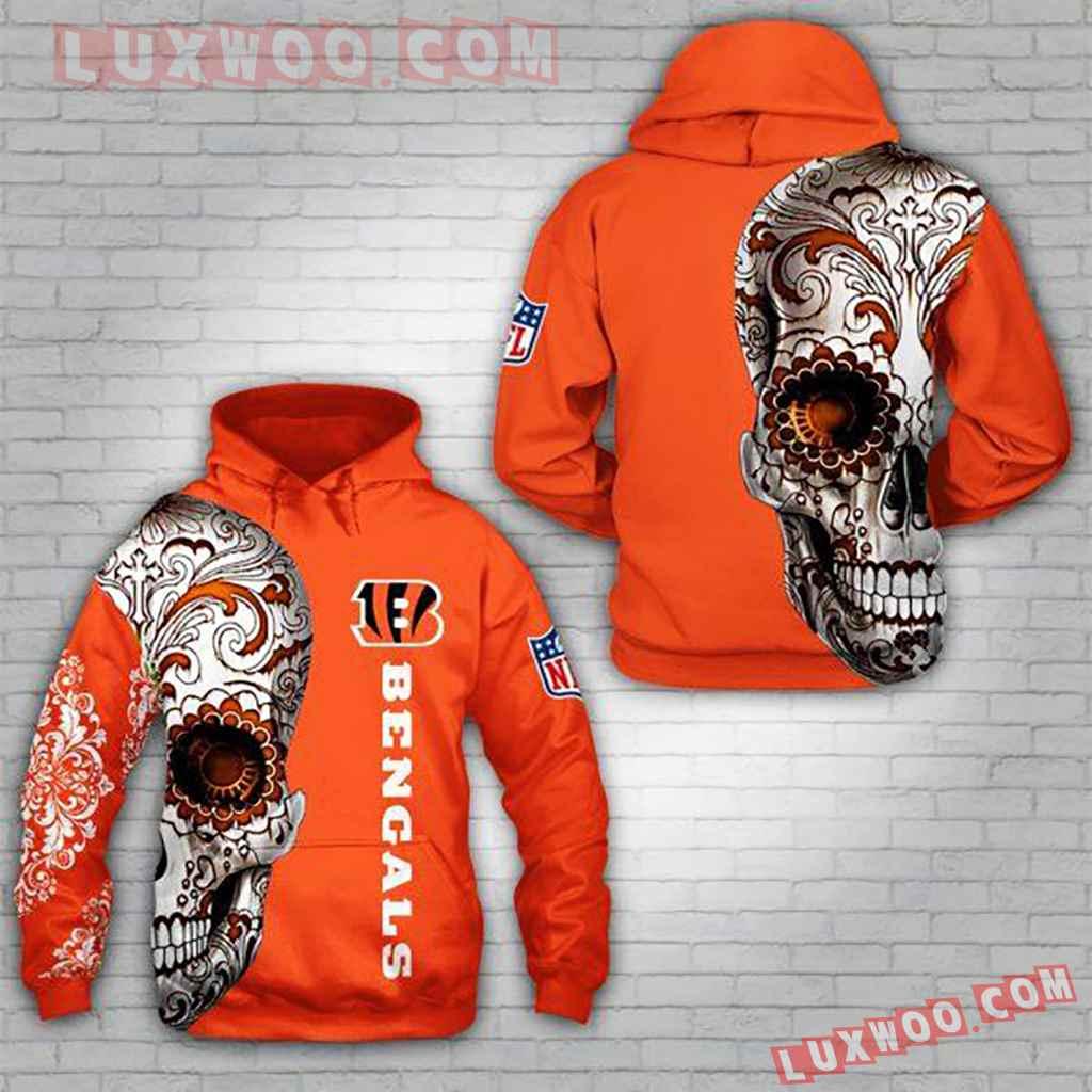 Nfl Cincinnati Bengals Skull 3d Hoodie