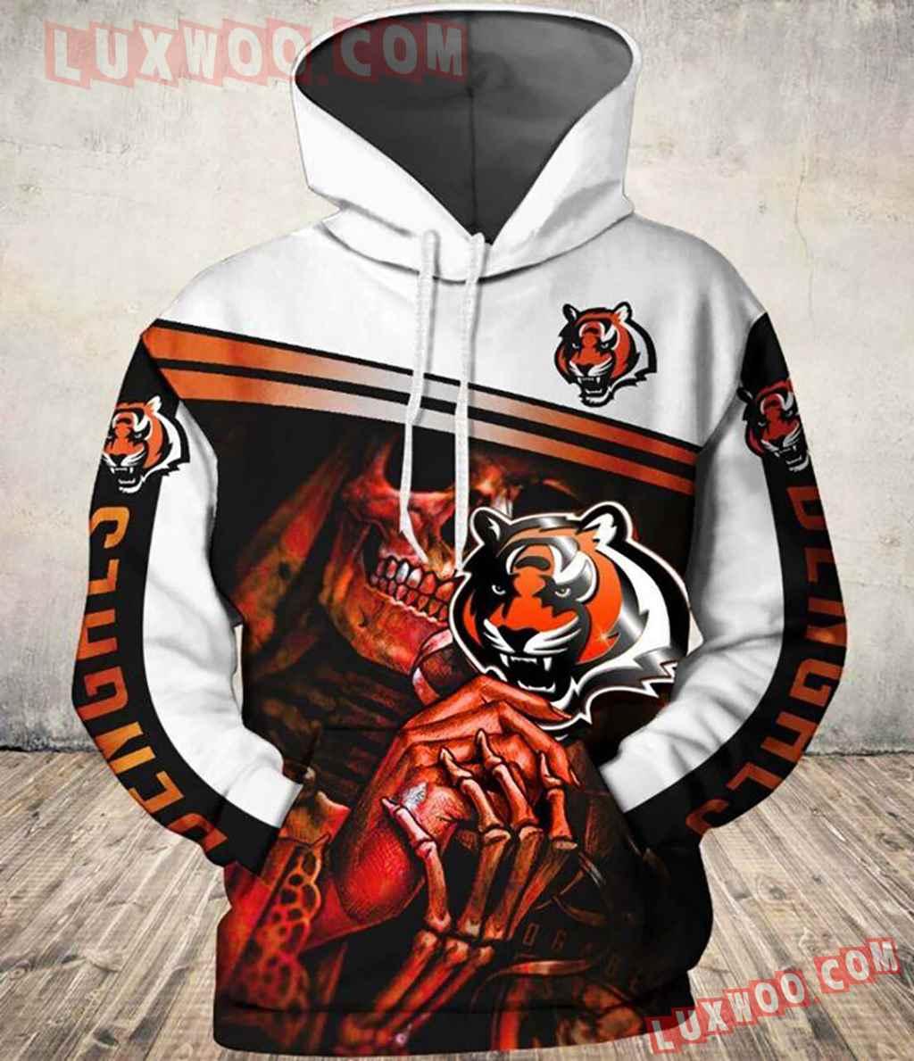 Nfl Cincinnati Bengals Skull Pullover And Zippered Hoodies Custom 3d G