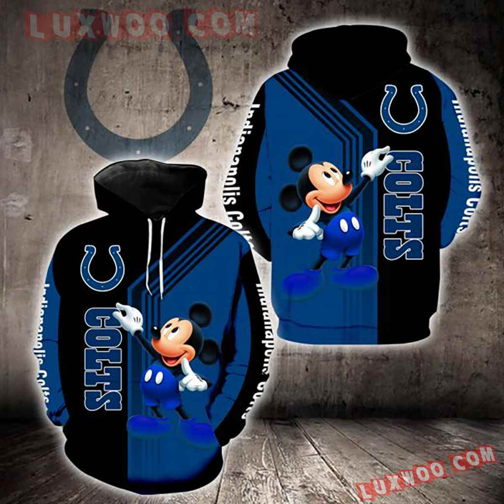 Nfl Indianapolis Colts Mickey Mouse 3d Hoodie New Full All Over Print K1322