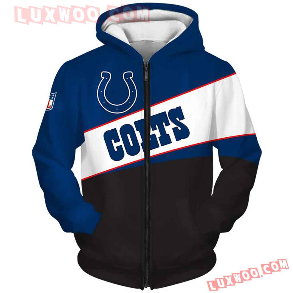 Nfl Indianapolis Colts Pullover And Zippered Hoodies Custom Graphic 3d