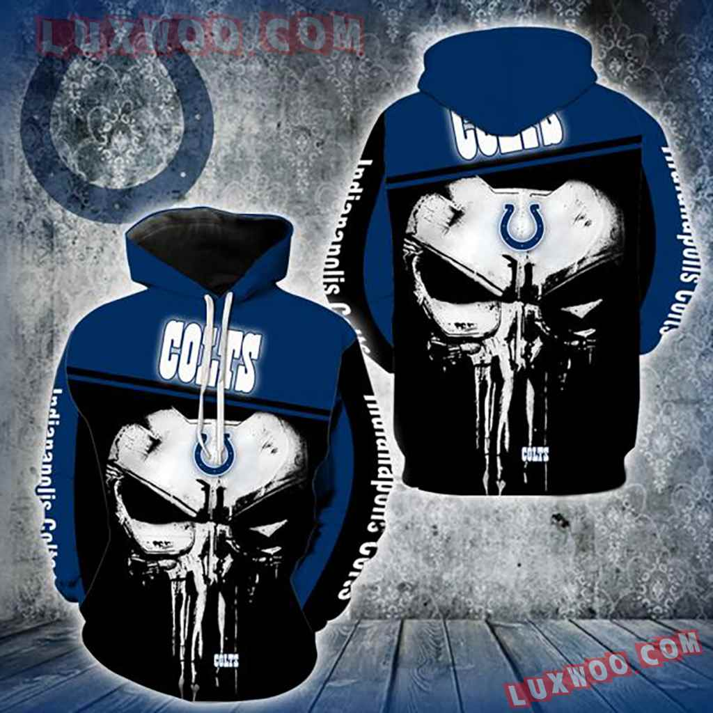 Nfl Indianapolis Colts Punisher Skull 3d Hoodie New Full All Over Print V1439