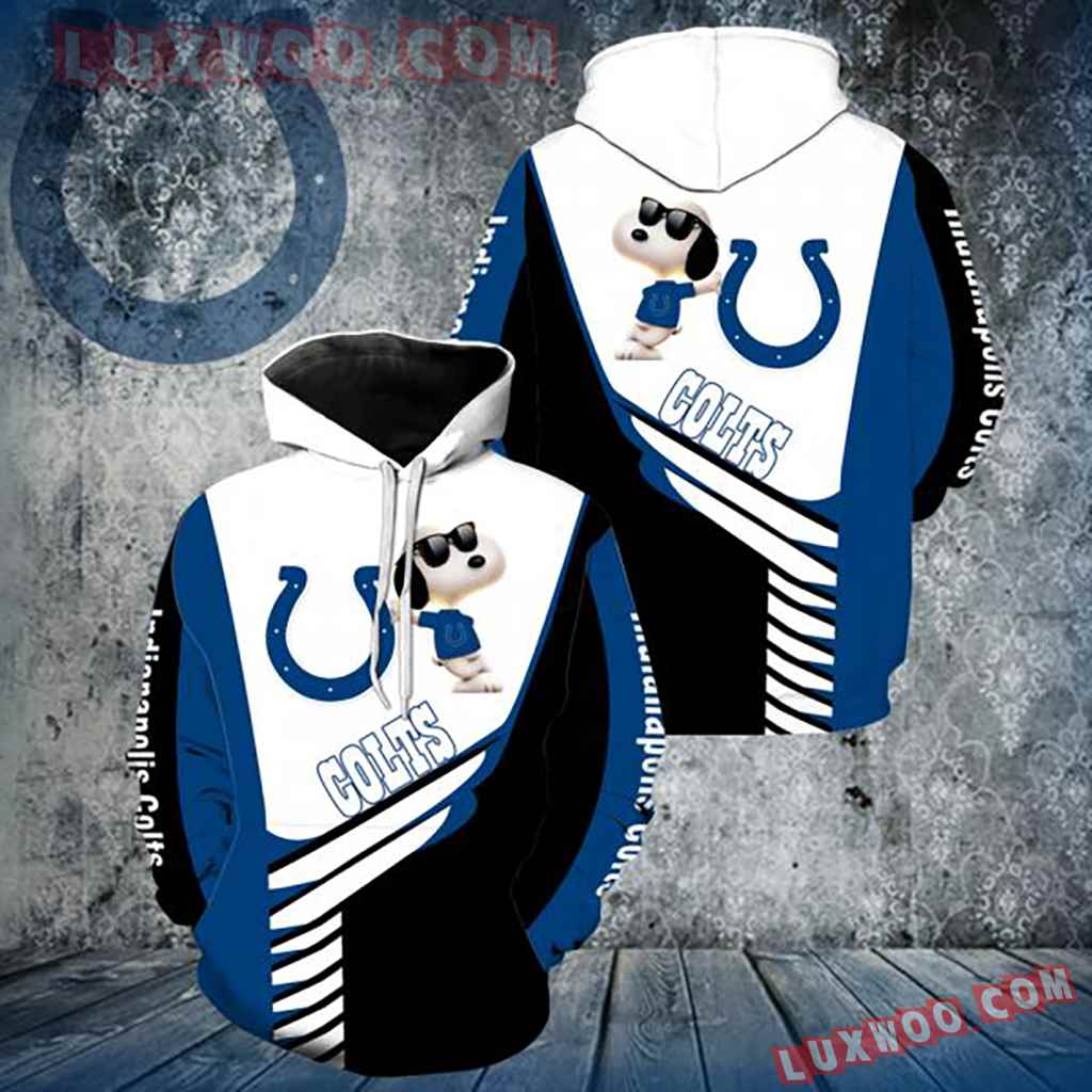 Nfl Indianapolis Colts Snoopy 3d Hoodie New Full Over Print V1347
