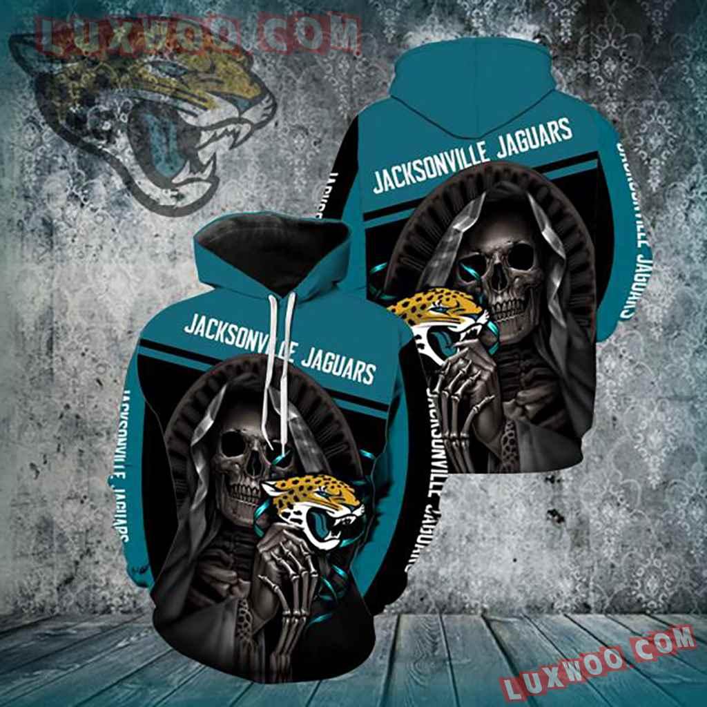 Nfl Jacksonville Jaguars Skull 3d Hoodie New Full Over Print V1340