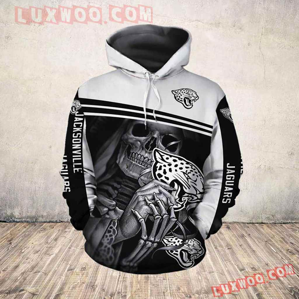 Nfl Jacksonville Jaguars Skull Pullover And Zippered Hoodies All Over