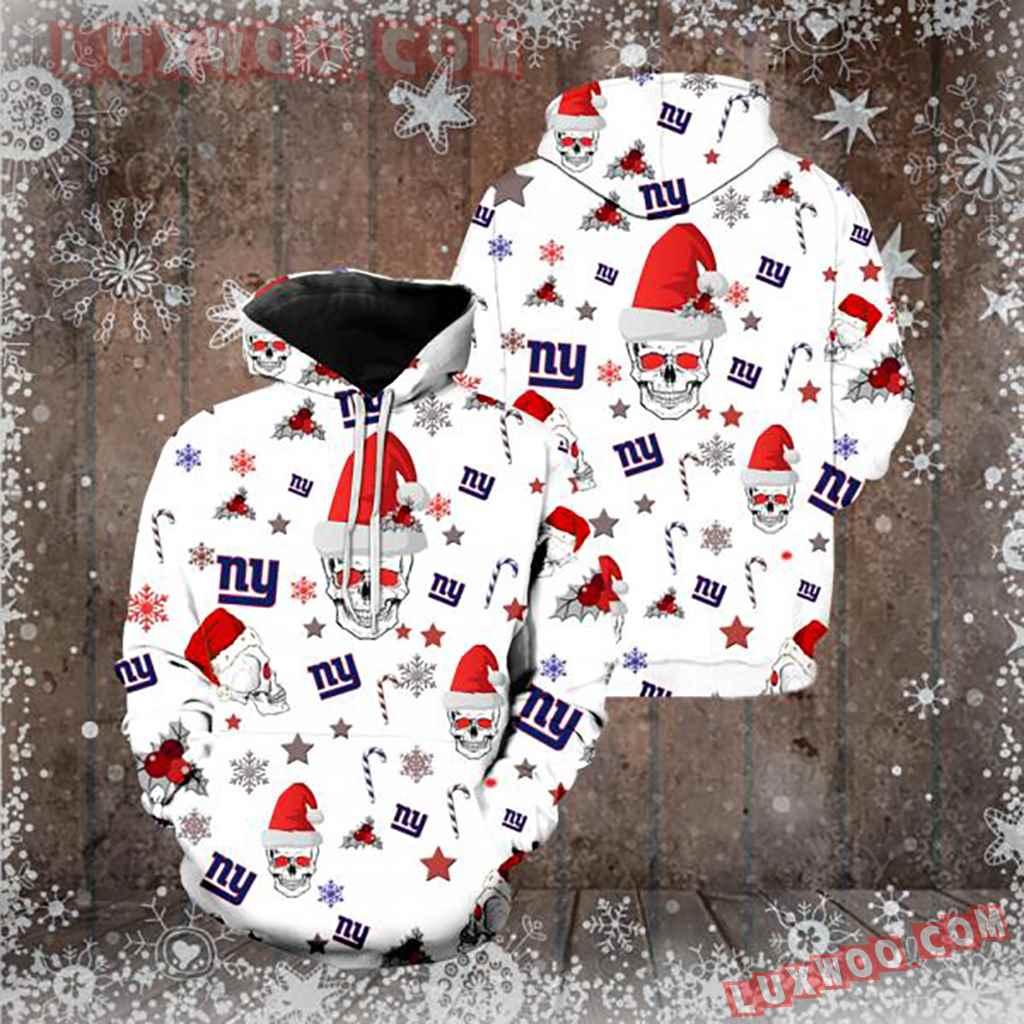 Nfl New York Giants Christmas Skull 3d Hoodie New Full Over Print K1117