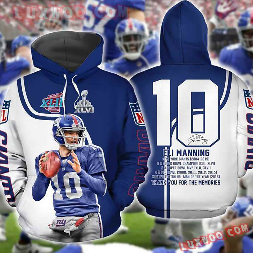 Nfl New York Giants Eli Manning Pullover And Zip Pered Hoodies Custom