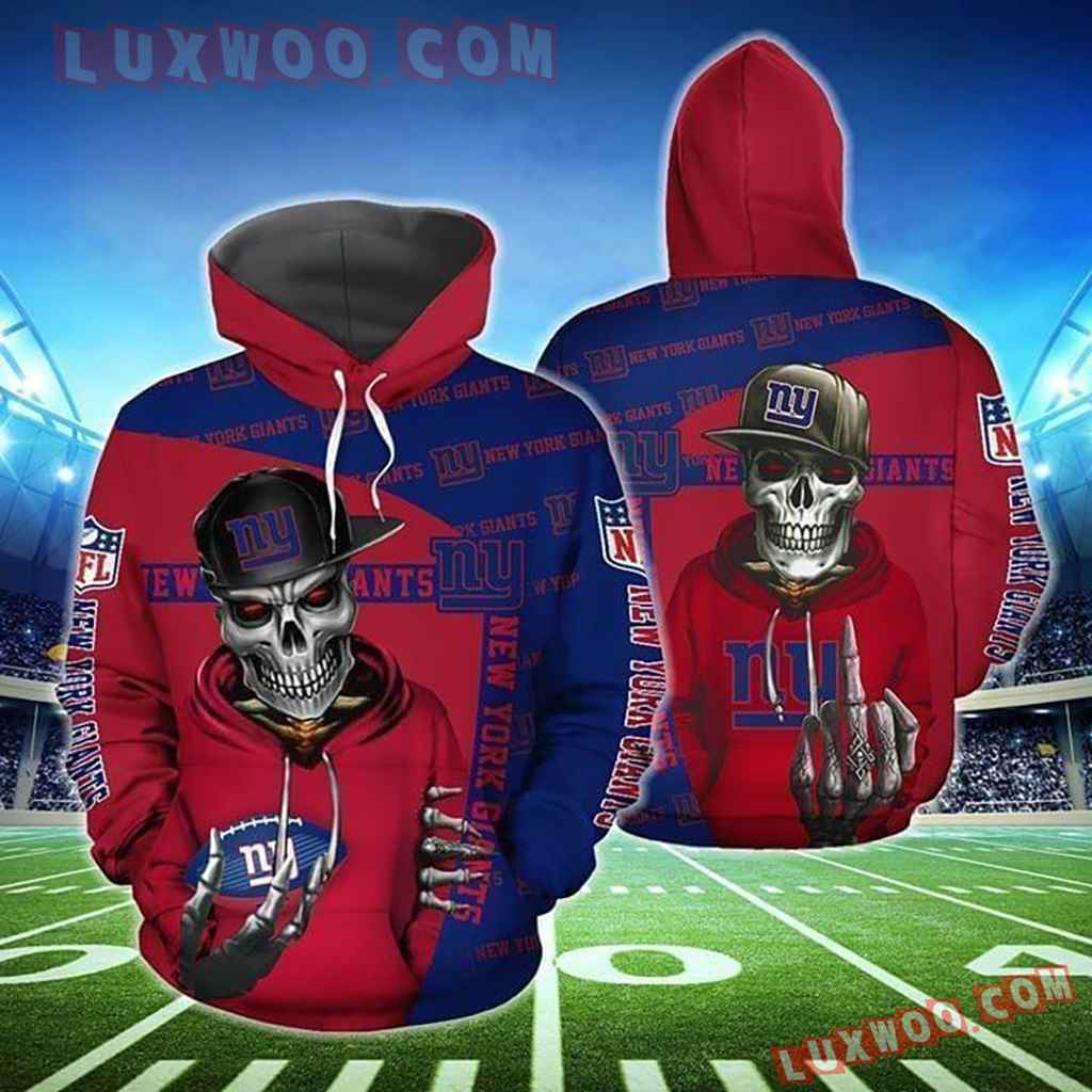 Nfl New York Giants Hiphop Skeleton 3d Hoodie For Men For Women