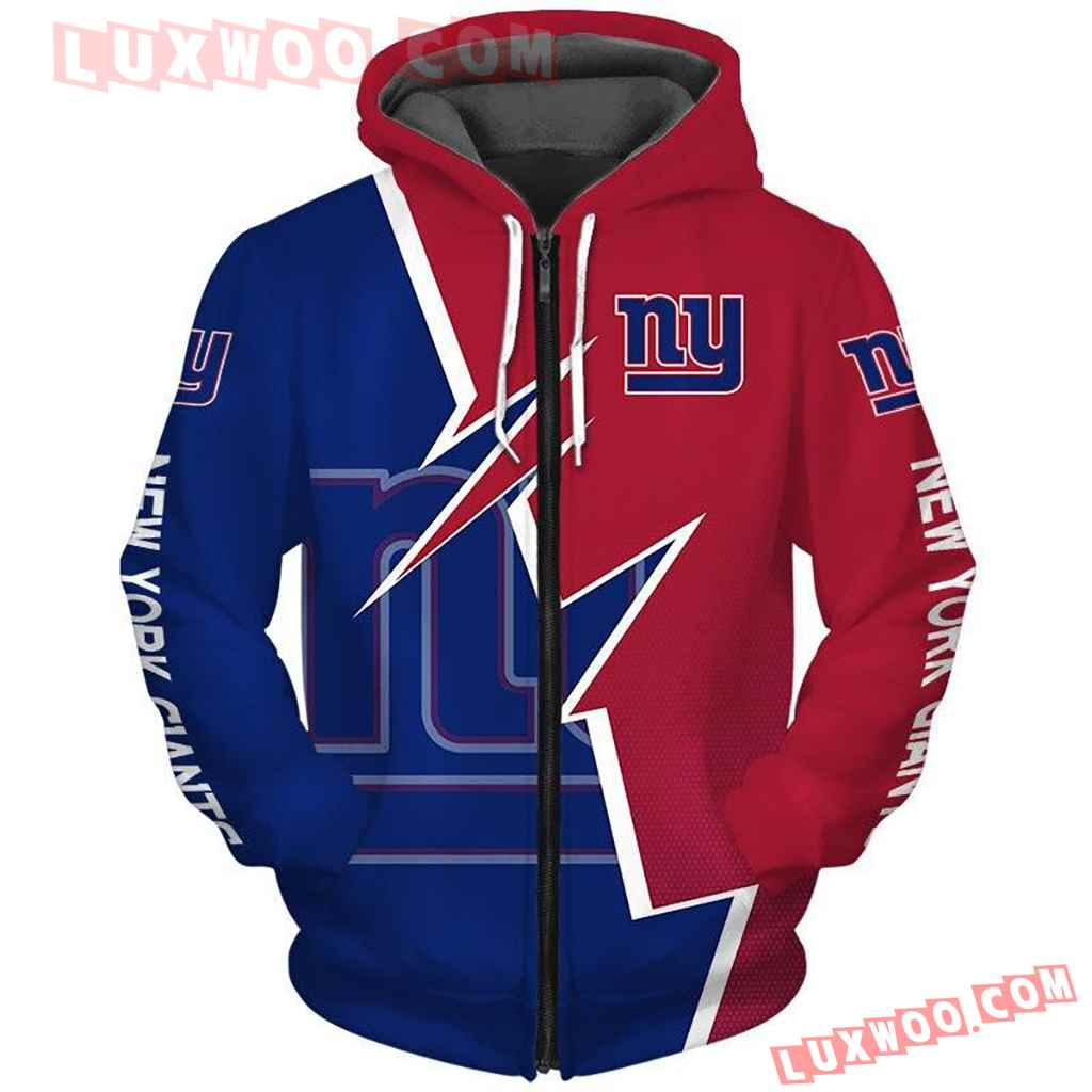 Nfl New York Giants Pullover And Zippered Hoodies Custom 3d Graphic Al