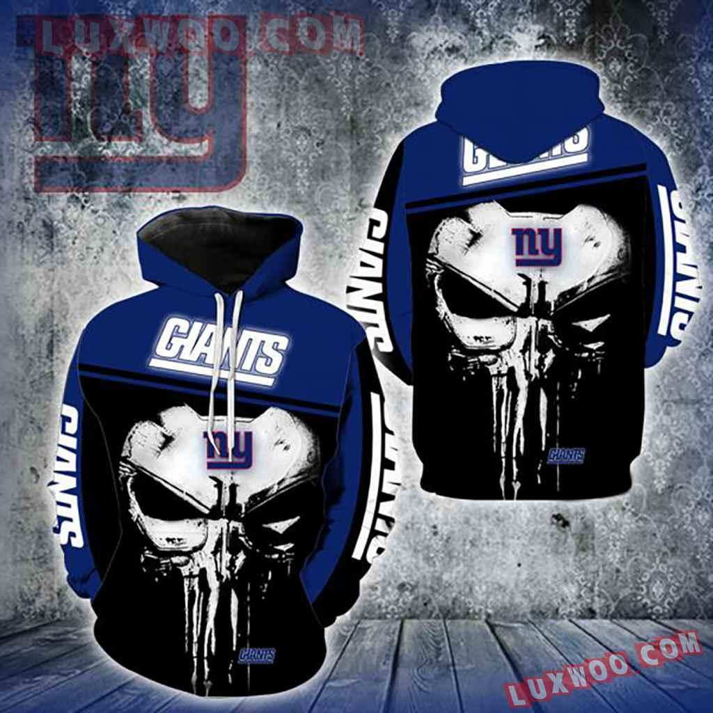 Nfl New York Giants Punisher Skull 3d Hoodie New Full All Over Print V1431