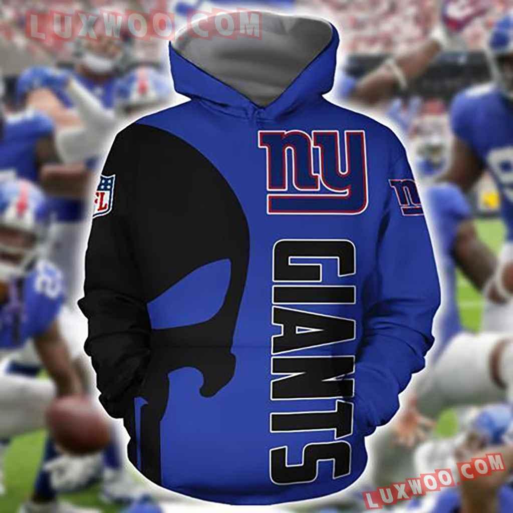 Nfl New York Giants Skull 3d Hoodie For Men For Women