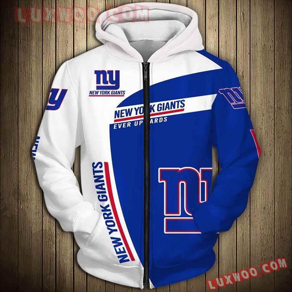 Nfl New York Giants Skull Pullover And Zippered Hoodies Custom 3d Grap