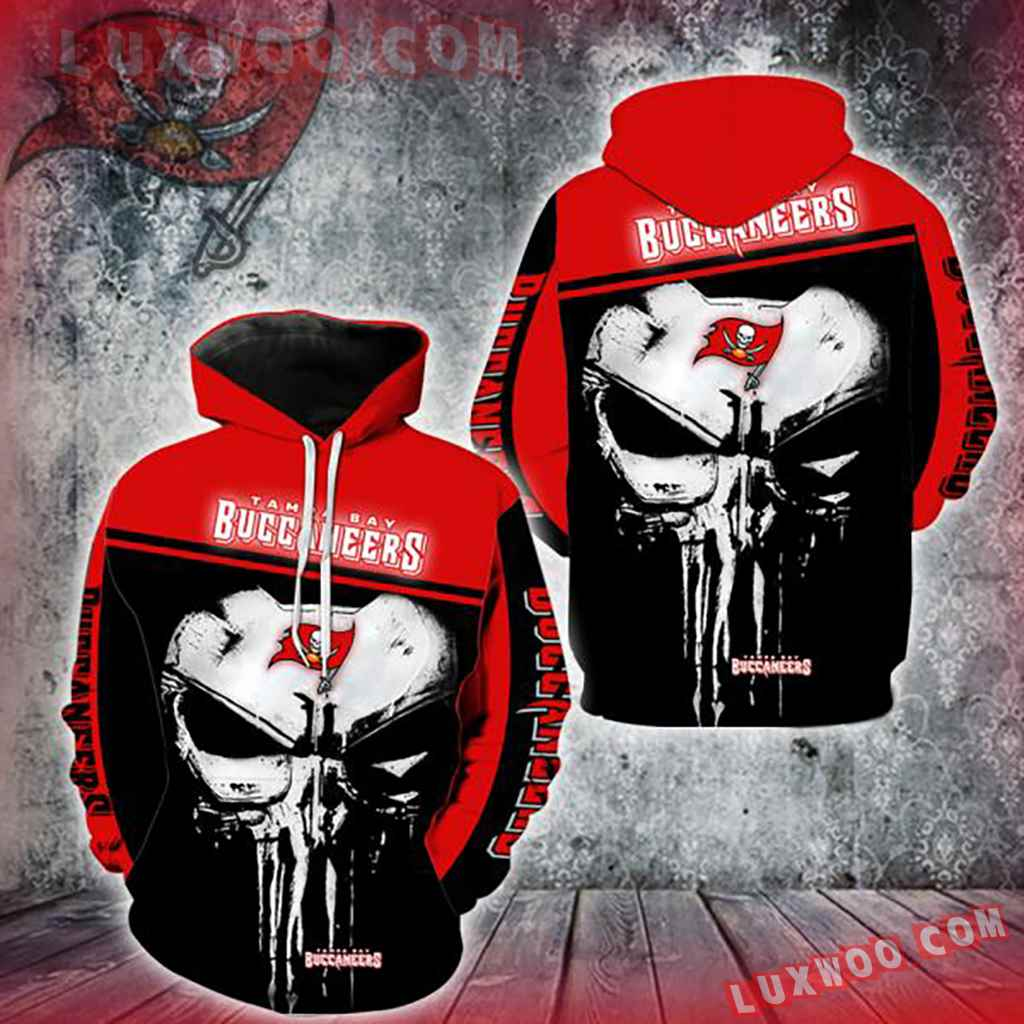 Nfl Tampa Bay Buccaneers Punisher Skull 3d Hoodie New Full All Over Print V1449