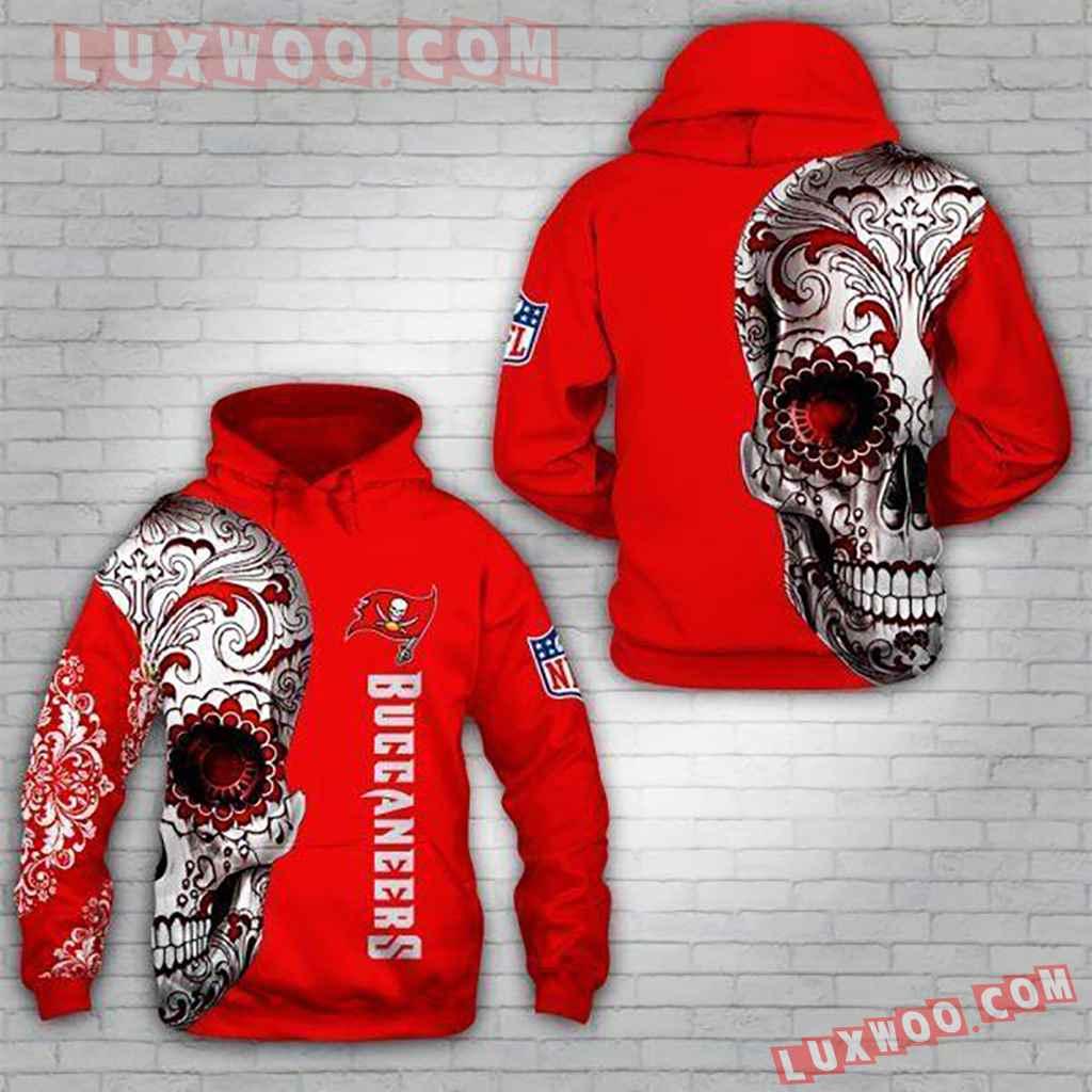 Nfl Tampa Bay Buccaneers Skull 3d Hoodie 5qy3t