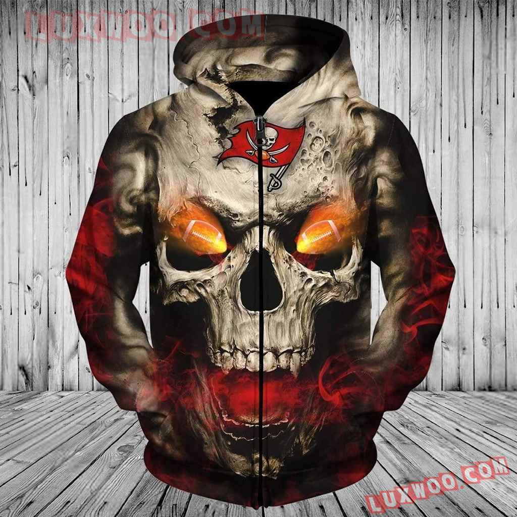 Nfl Tampa Bay Buccaneers Skull Pullover And Zippered Hoodies Custom 3d