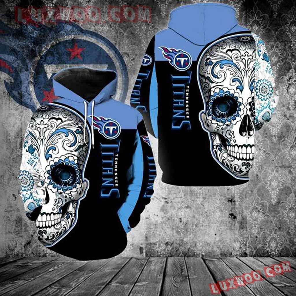 Nfl Tennessee Titans Skull 3d Hoodie New Full Over Print V1321
