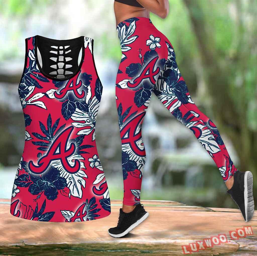 Combo Atlanta Braves Hawaiian Tropical Flower Hollow Tanktop Legging Set Outfit K1556