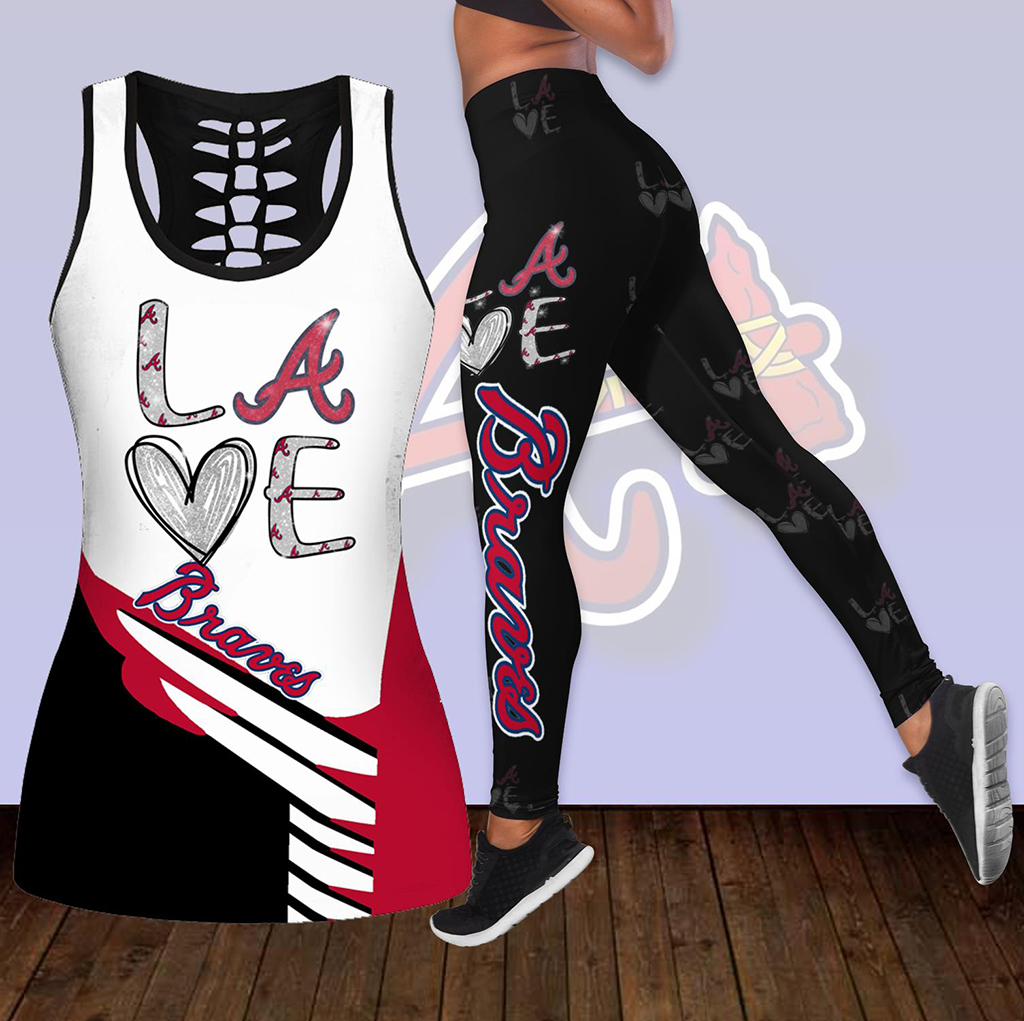 Combo Atlanta Braves Love Hollow Tanktop Legging Set Outfit K1886