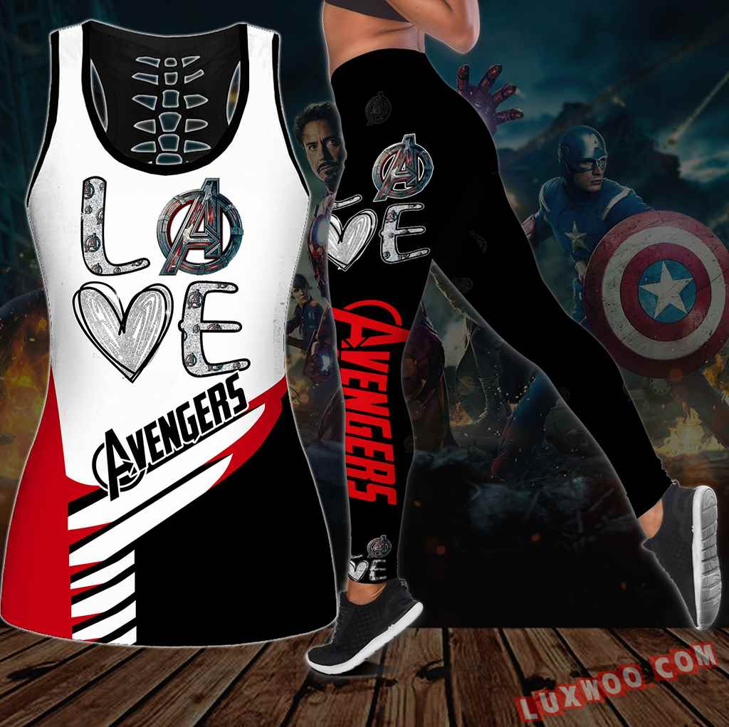 Combo Avengers Love Hollow Tanktop Legging Set Outfit S1033