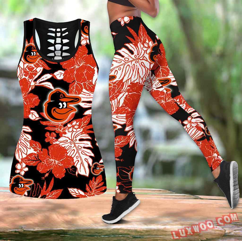 Combo Baltimore Orioles Hawaiian Tropical Flower Hollow Tanktop Legging Set Outfit V1573