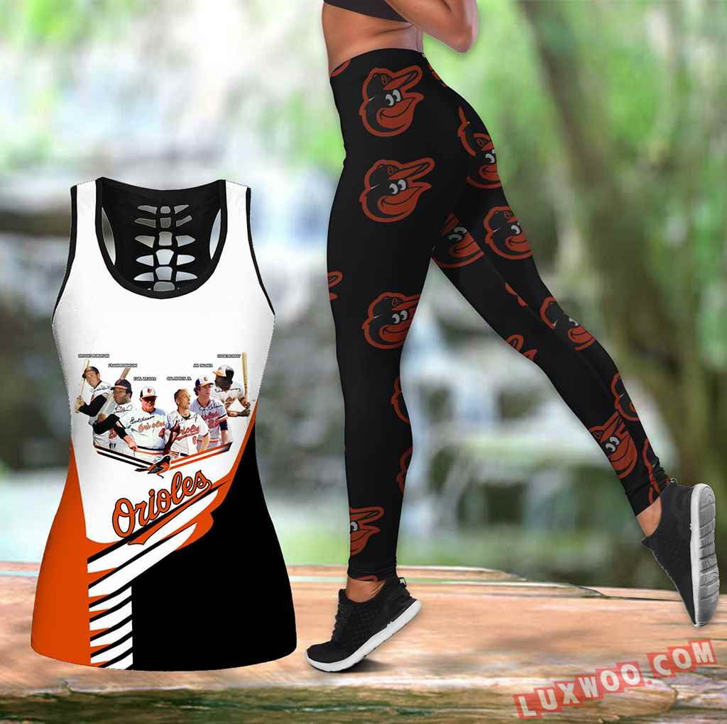 Combo Baltimore Orioles Hollow Tanktop Legging Set Outfit K1590