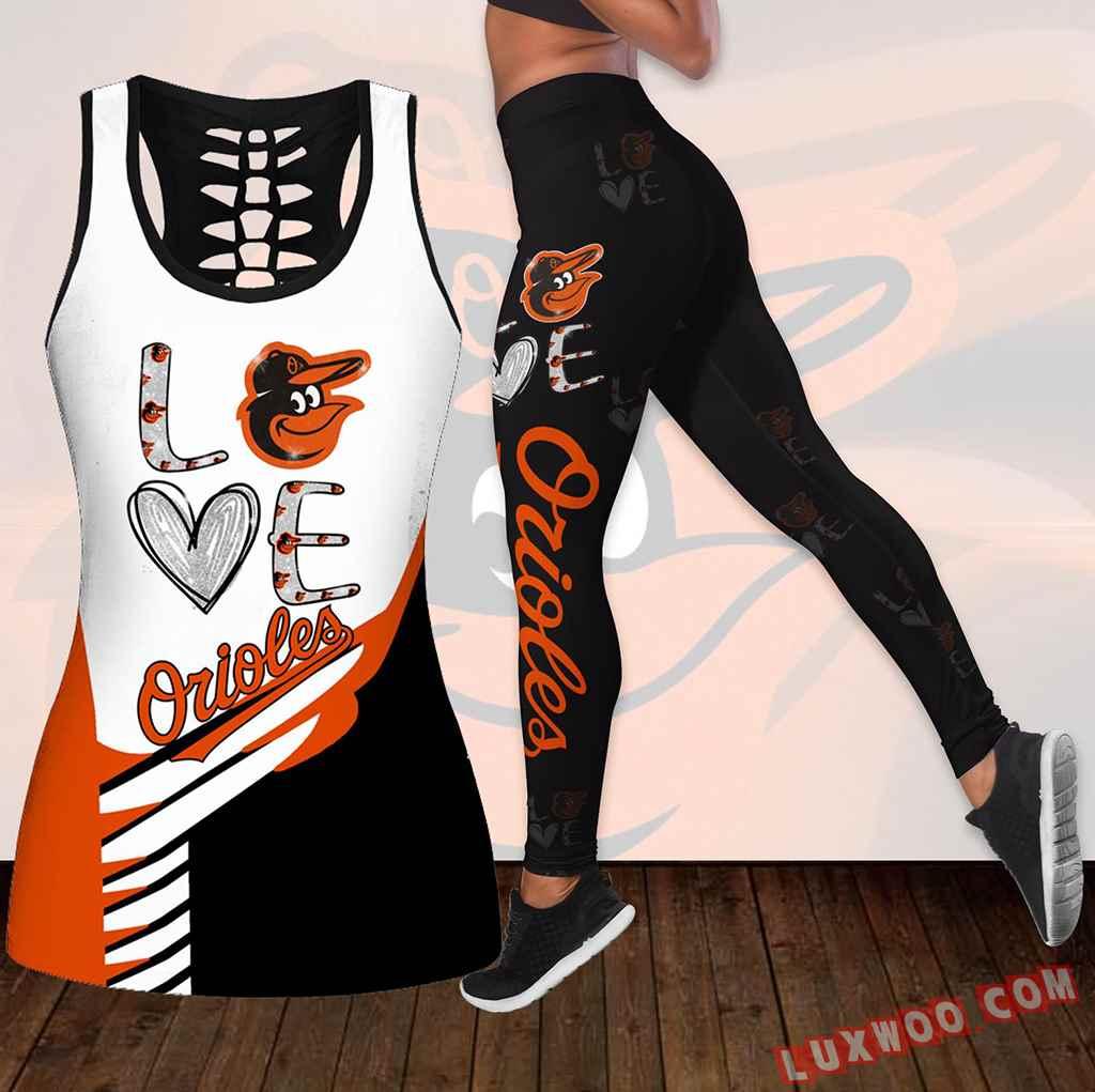 Combo Baltimore Orioles Love Hollow Tanktop Legging Set Outfit K1837