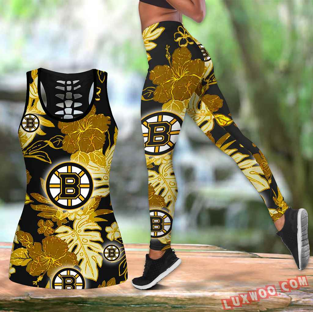 Combo Boston Bruins Hawaiian Tropical Flower Hollow Tanktop Legging Set Outfit V1601