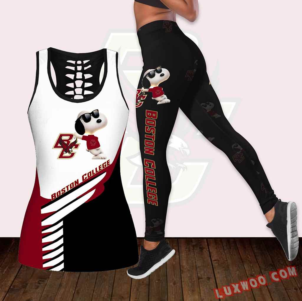 Combo Boston College Eagles Snoopy Hollow Tanktop Legging Set Outfit K1817