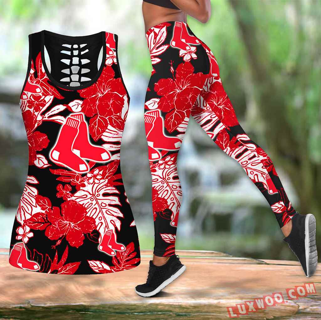 Combo Boston Red Sox Hawaiian Tropical Flower Hollow Tanktop Legging Set Outfit V1574