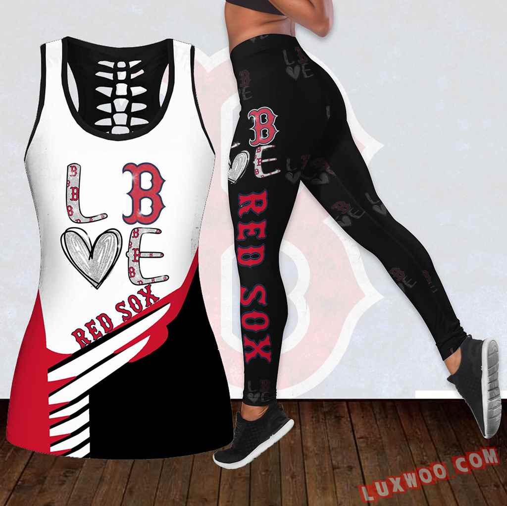 Combo Boston Red Sox Love Hollow Tanktop Legging Set Outfit K1879
