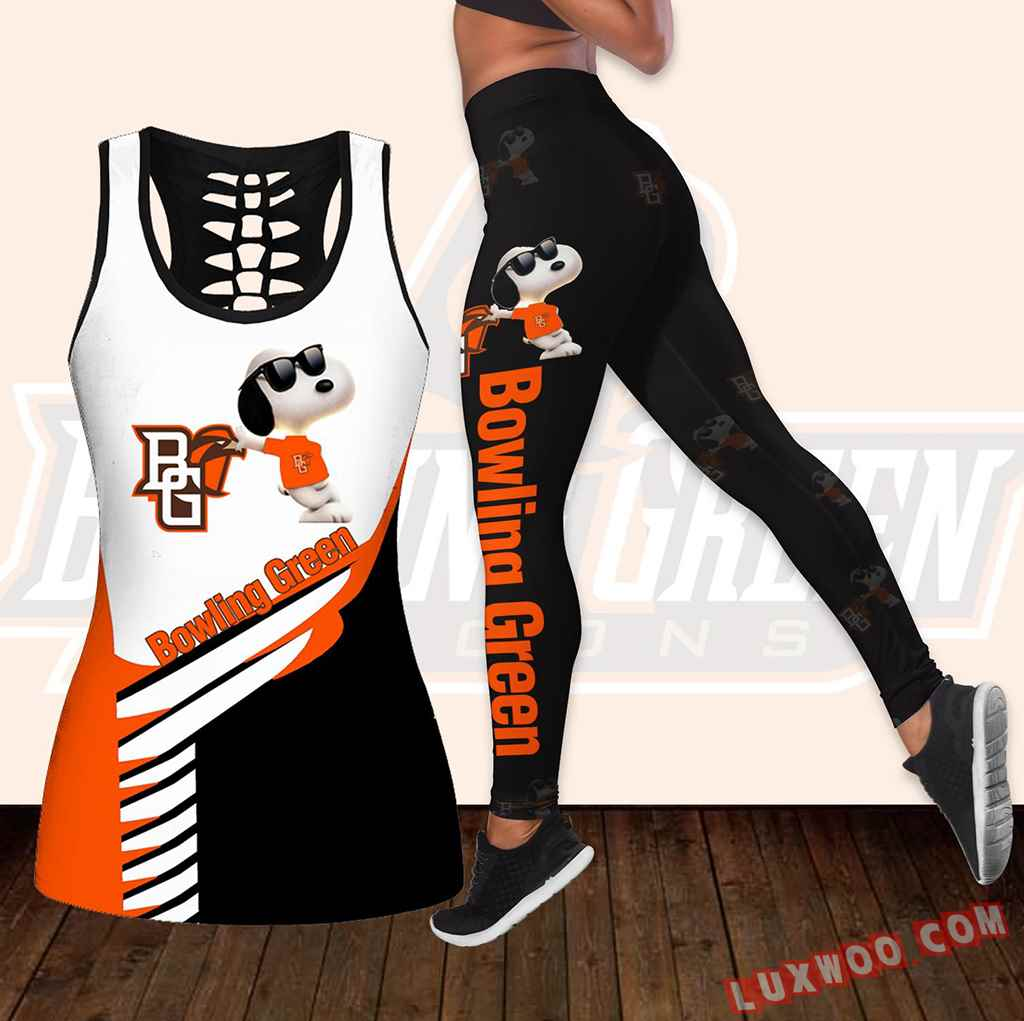 Combo Bowling Green Falcons Snoopy Hollow Tanktop Legging Set Outfit K1801