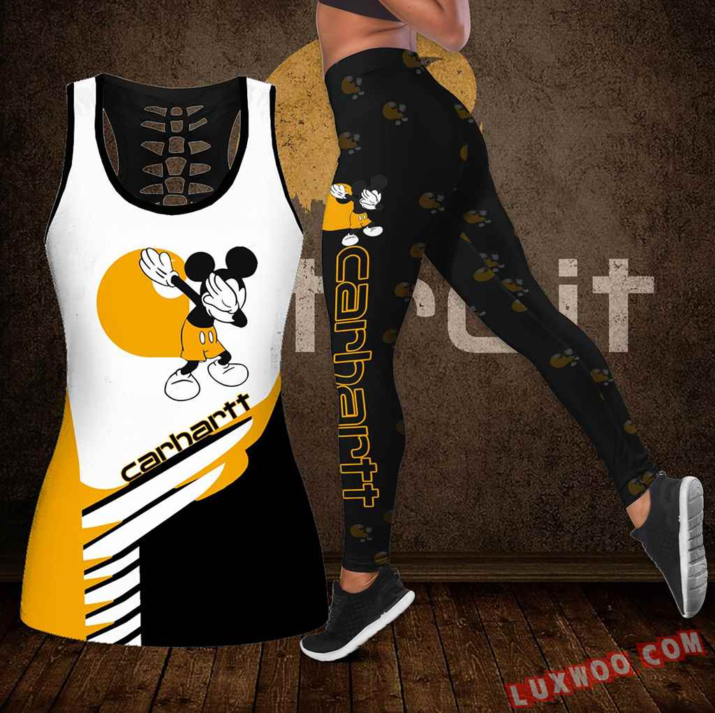 Combo Carhartt Mickey Mouse Hollow Tanktop Legging Set Outfit K1918