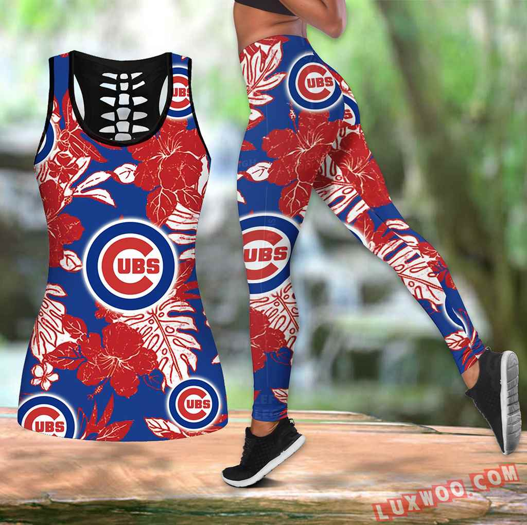 Combo Chicago Cubs Hawaiian Tropical Flower Hollow Tanktop Legging Set Outfit V1577