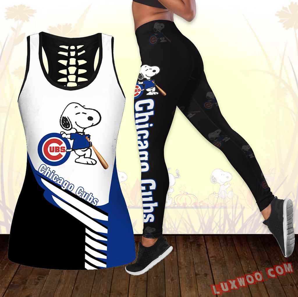 Combo Chicago Cubs Snoopy Hollow Tanktop Legging Set Outfit K1730