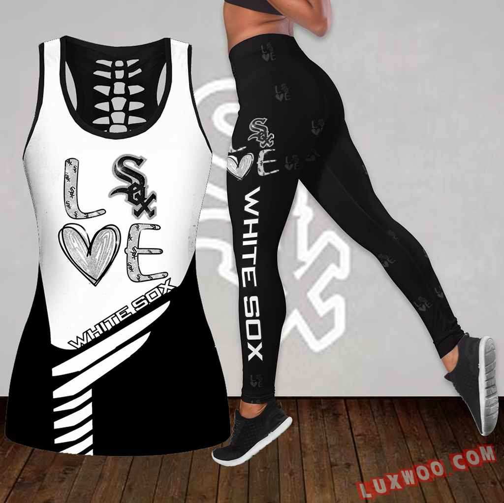 Combo Chicago White Sox Love Hollow Tanktop Legging Set Outfit K1831