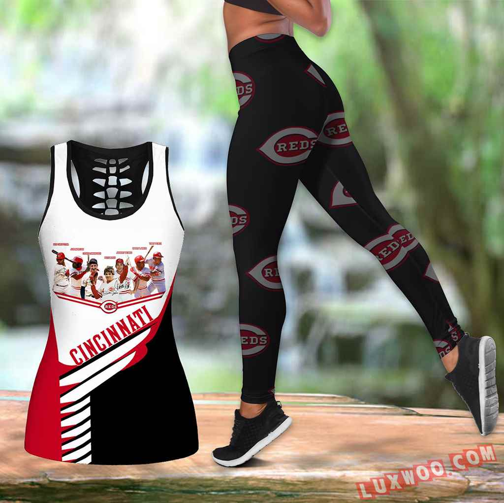 Combo Cincinnati Reds Hollow Tanktop Legging Set Outfit K1591