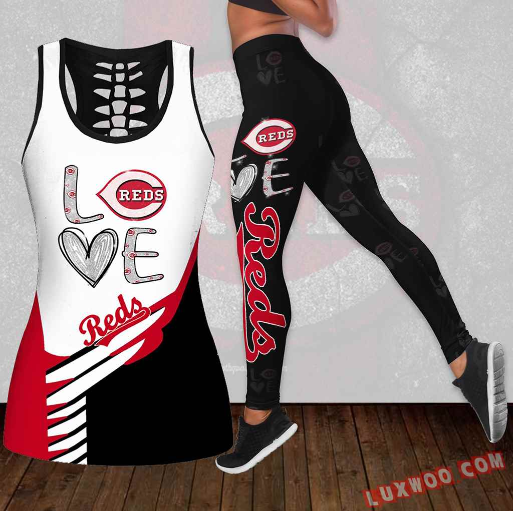 Combo Cincinnati Reds Love Hollow Tanktop Legging Set Outfit K1899