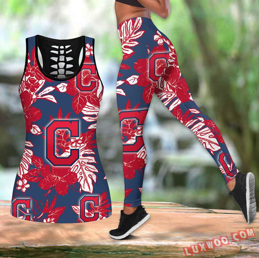 Combo Cleveland Indians Hawaiian Tropical Flower Hollow Tanktop Legging Set Outfit K1547