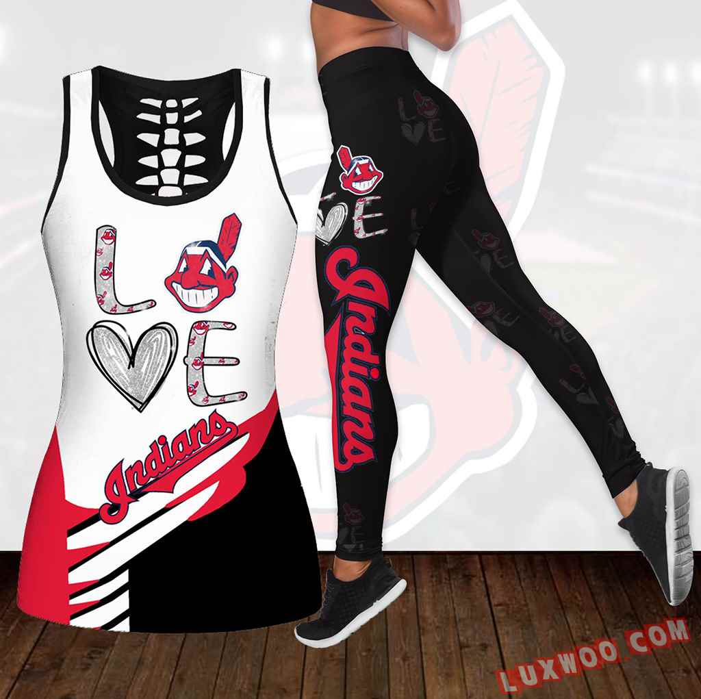 Combo Cleveland Indians Love Hollow Tanktop Legging Set Outfit K1838