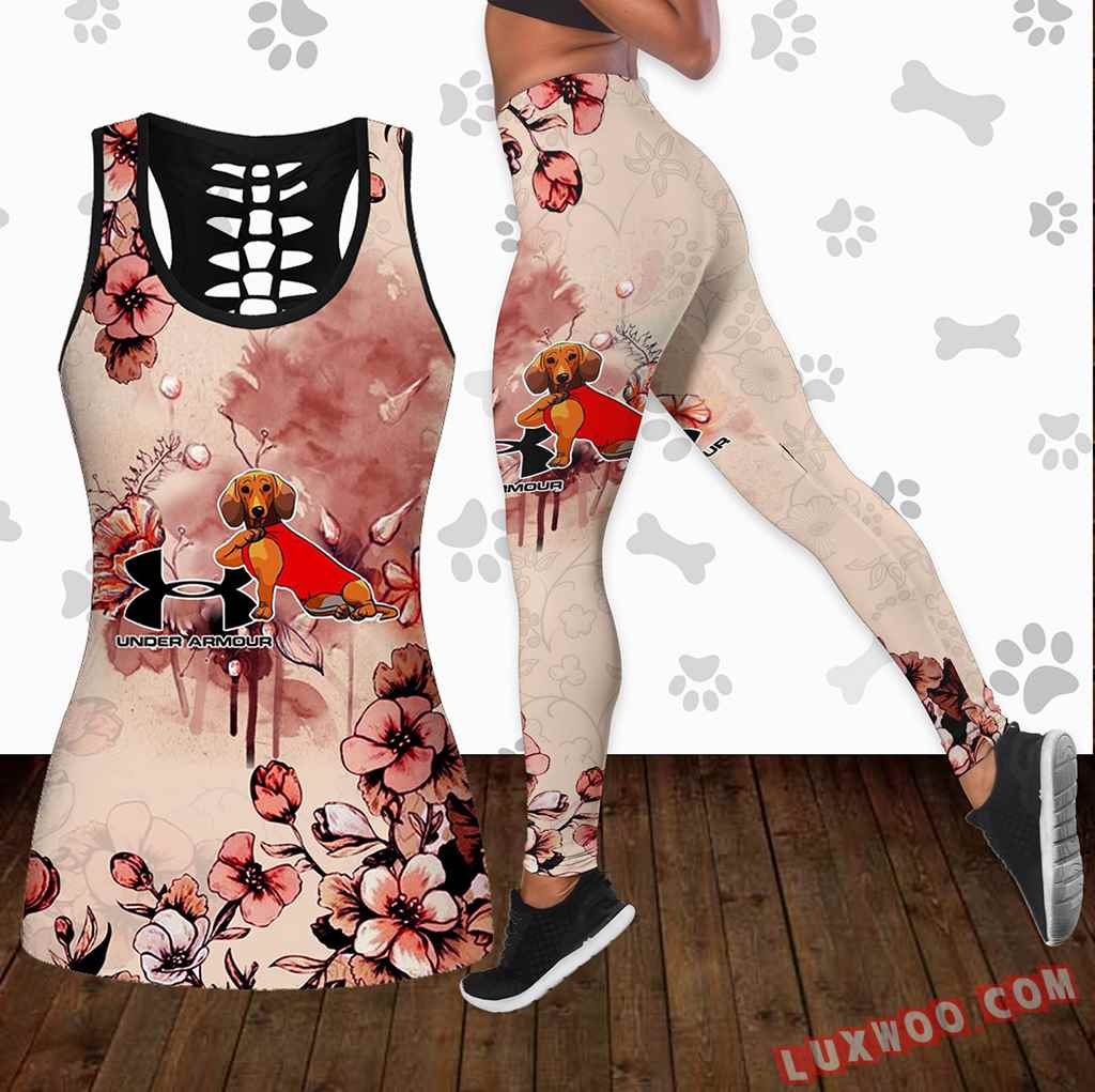 Combo Dachshund Under Armour Flower Hollow Tanktop Legging Set Outfit K1647