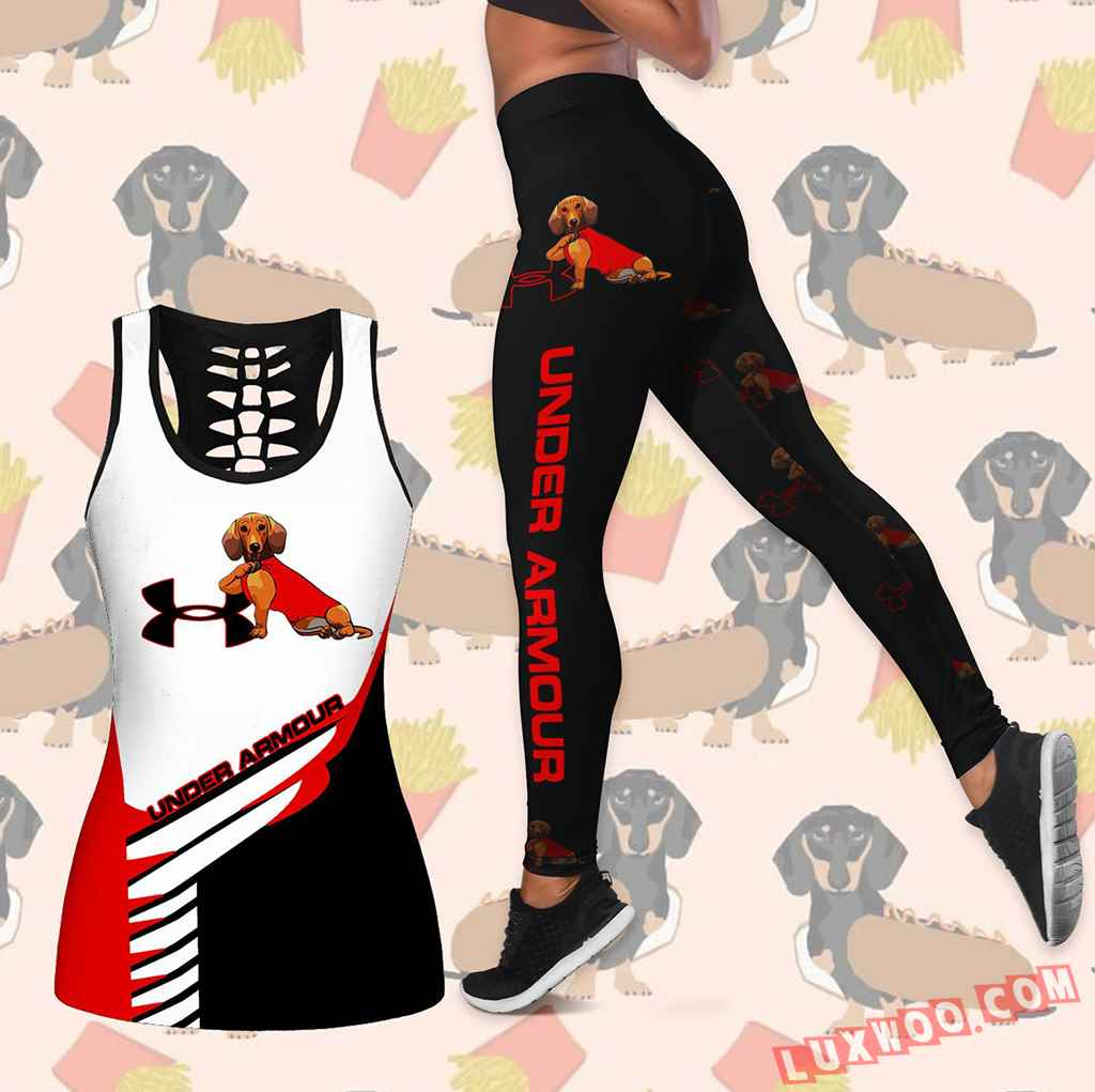 Combo Dachshund Under Armour Hollow Tanktop Legging Set Outfit K1635