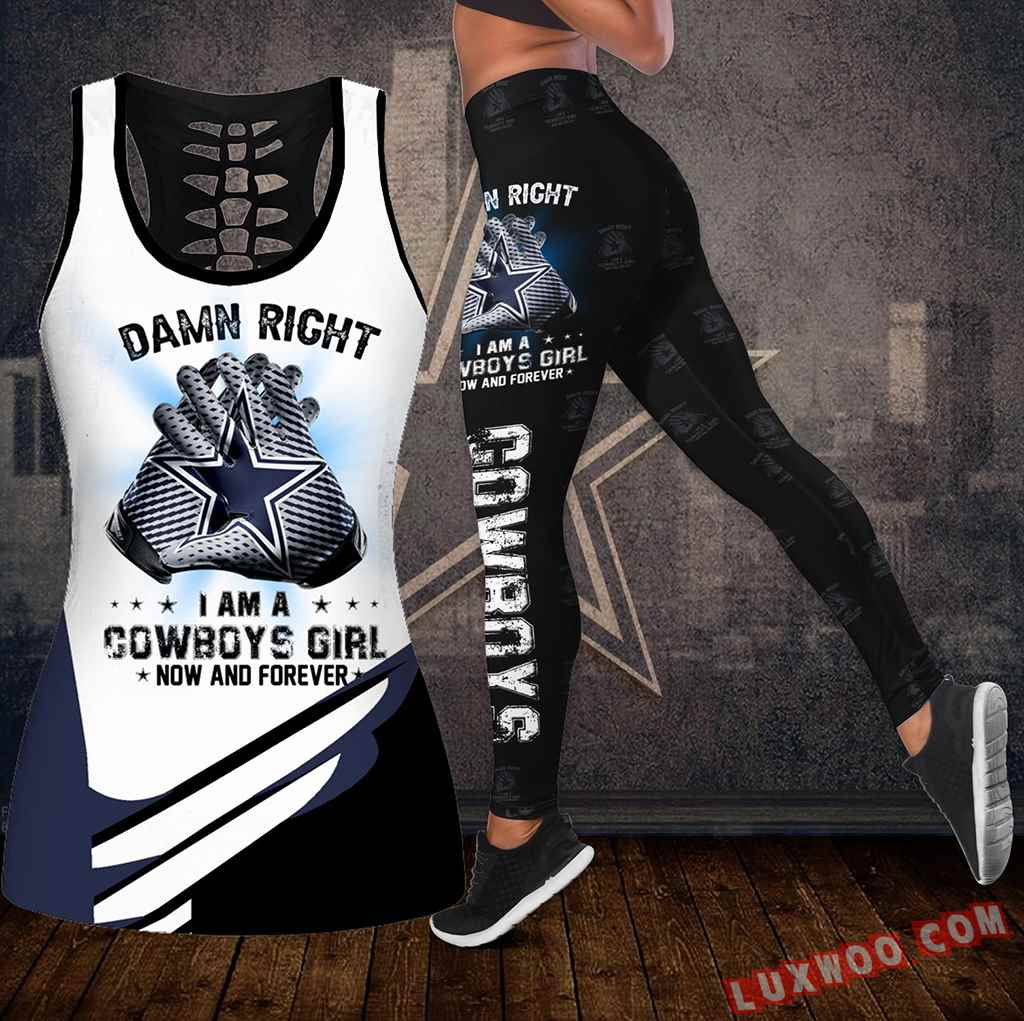 Combo Dallas Cowboys Damn Right Hollow Tanktop Legging Set Outfit K2028