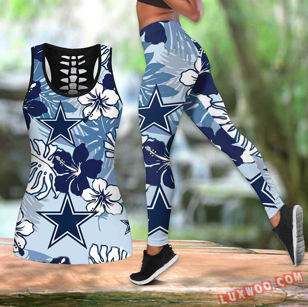 Combo Dallas Cowboys Hawaiian Tropical Flower Hollow Tanktop Legging Set Outfit V1702