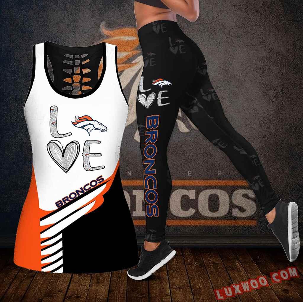 Combo Denver Broncos Love Hollow Tanktop Legging Set Outfit K1920