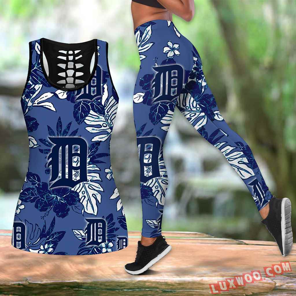 Combo Detroit Tigers Hawaiian Tropical Flower Hollow Tanktop Legging Set Outfit K1541